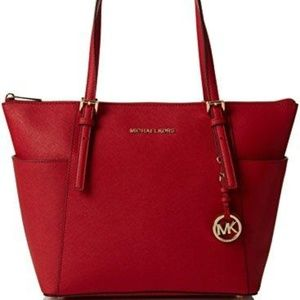 Michael Kors Jet Set Red leather purse